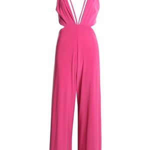 Milly strappy plunge wide leg jumpsuit